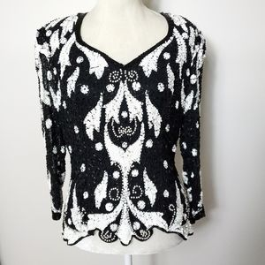 Fully sequin and beaded top